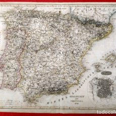 Arte: 1849 - ORIGINAL - MAPA DE ESPAÑA SPANIEN UND PORTUGAL - MADRID - O. FERRO - VON. H. BORNMÜLLER. Lote 183005815