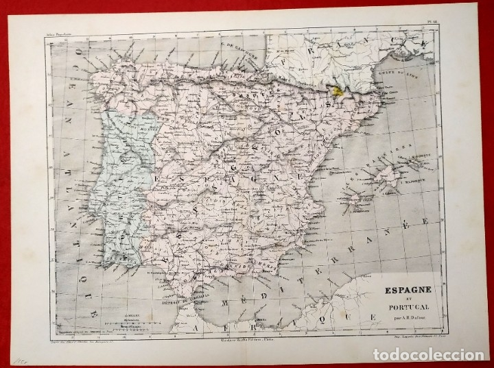 1855 - ORIGINAL - MAPA DE ESPAÑA ESPAGNE ET PORTUGAL - A.H. DUFOUR - GUSTAVE BARBA - PARIS (Arte - Cartografía Antigua (hasta S. XIX))