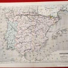 Arte: 1855 - ORIGINAL - MAPA DE ESPAÑA ESPAGNE ET PORTUGAL - A.H. DUFOUR - GUSTAVE BARBA - PARIS. Lote 183006290