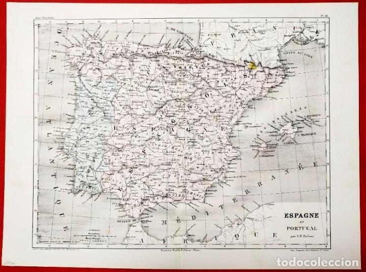 Arte: 1855 - Original - Mapa de España Espagne et Portugal - A.H. Dufour - Gustave Barba - Paris - Foto 2 - 183006290
