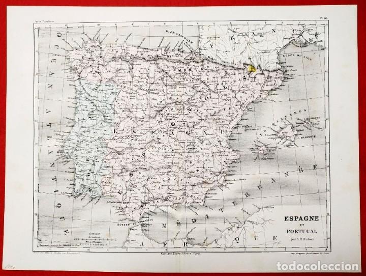Arte: 1855 - Original - Mapa de España Espagne et Portugal - A.H. Dufour - Gustave Barba - Paris - Foto 3 - 183006290