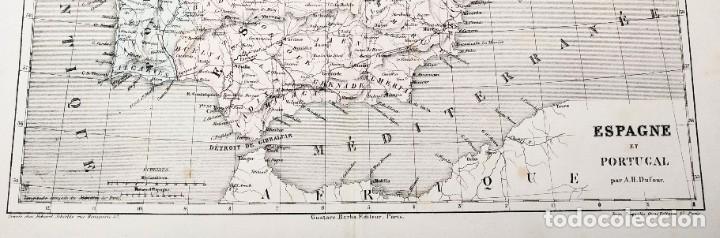 Arte: 1855 - Original - Mapa de España Espagne et Portugal - A.H. Dufour - Gustave Barba - Paris - Foto 4 - 183006290