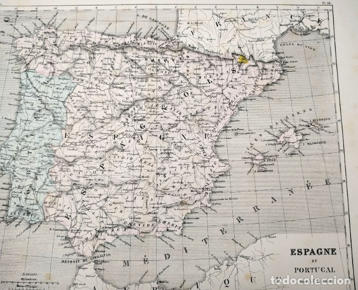 Arte: 1855 - Original - Mapa de España Espagne et Portugal - A.H. Dufour - Gustave Barba - Paris - Foto 10 - 183006290