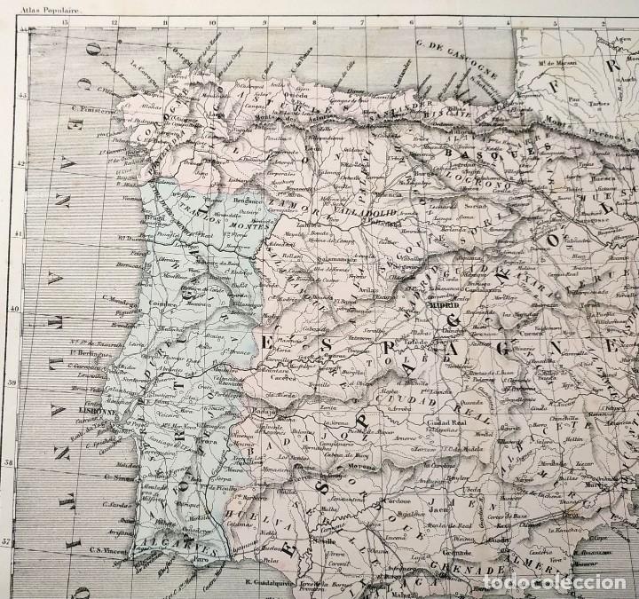Arte: 1855 - Original - Mapa de España Espagne et Portugal - A.H. Dufour - Gustave Barba - Paris - Foto 12 - 183006290