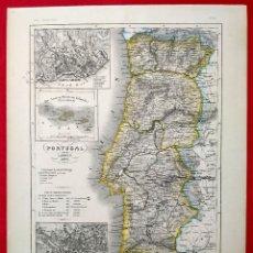 Arte: 1849 - ORIGINAL - MAPA DE PORTUGAL Y AZORES - LISBOA - MEYER´S - STAHLSTICH V. KLEINKNECHT. Lote 183009125