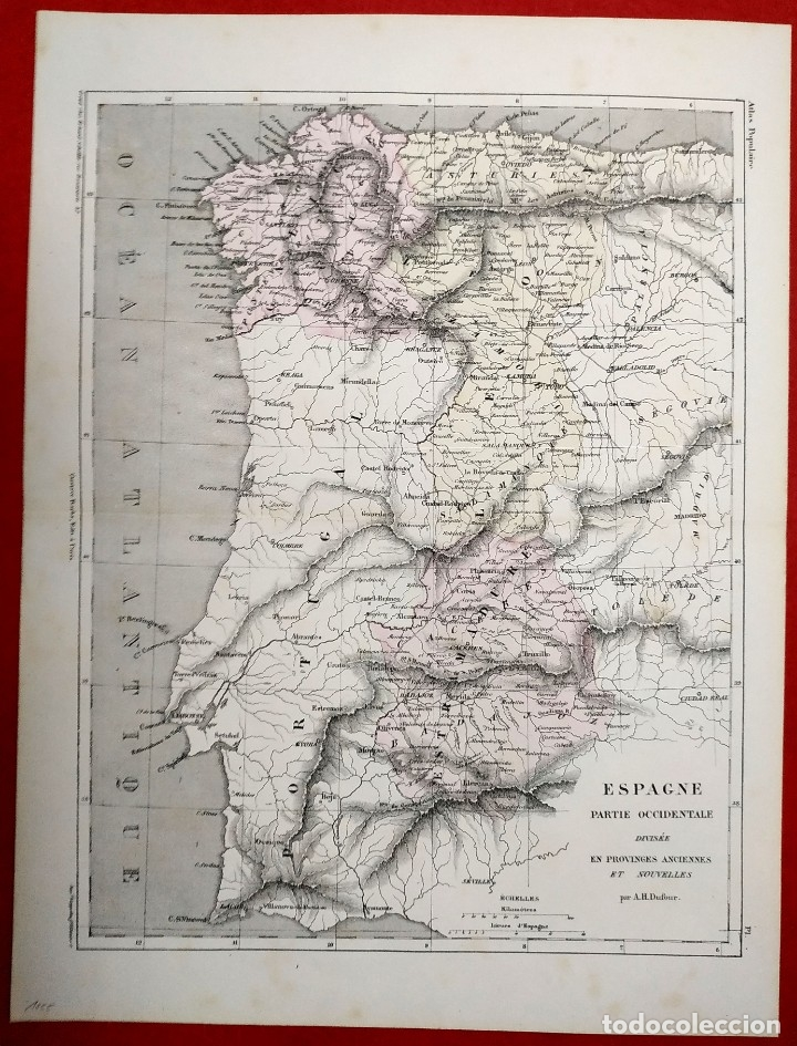 1855 - ORIGINAL - MAPA ESPAÑA - PARTE OCCIDENTAL - A.H. DUFOUR - GUSTAVE BARBA - PARIS (Arte - Cartografía Antigua (hasta S. XIX))