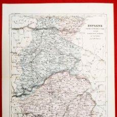 Arte: 1855 - ORIGINAL - MAPA ESPAÑA - PARTE CENTRAL Y NORTE - A.H. DUFOUR - GUSTAVE BARBA - PARIS. Lote 183012016