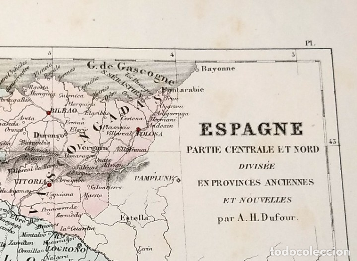 Arte: 1855 - Original - Mapa España - Parte central y norte - A.H. Dufour - Gustave Barba - Paris - Foto 3 - 183012016