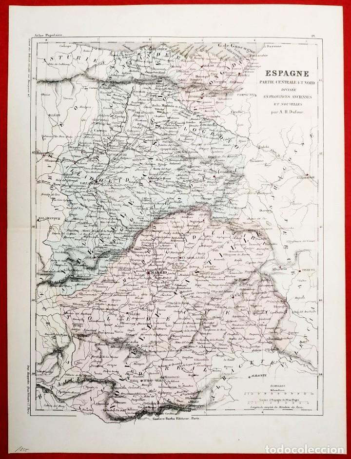 Arte: 1855 - Original - Mapa España - Parte central y norte - A.H. Dufour - Gustave Barba - Paris - Foto 4 - 183012016