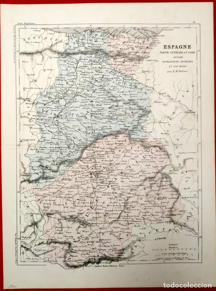 Arte: 1855 - Original - Mapa España - Parte central y norte - A.H. Dufour - Gustave Barba - Paris - Foto 6 - 183012016