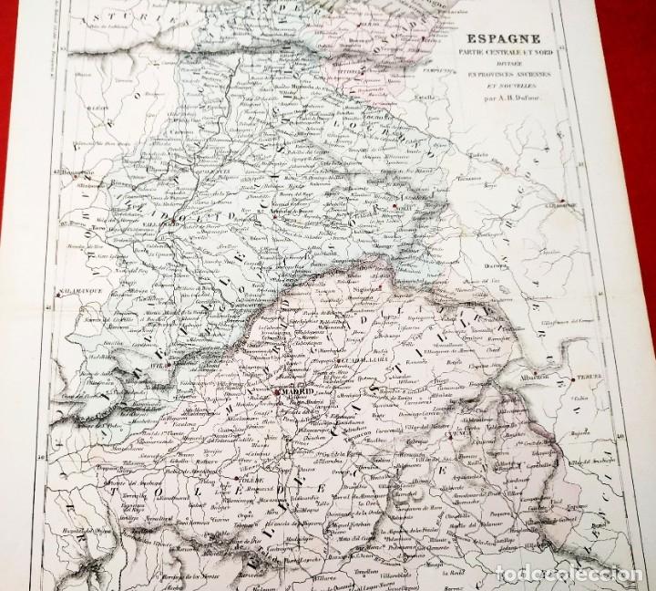 Arte: 1855 - Original - Mapa España - Parte central y norte - A.H. Dufour - Gustave Barba - Paris - Foto 7 - 183012016