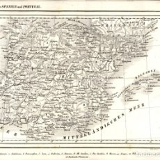 Arte: 1844 - ORIGINAL - MAPA DE ESPAÑA Y PORTUGAL - KARTE SPANIEN UND PORTUGAL - VON A. GROSS - W. POBADA. Lote 183167431