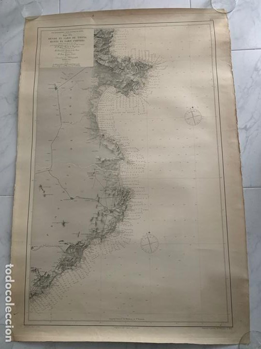 CARTA NAUTICA CABO DE TOSSA A CABO CERBERA S. XIX (Arte - Cartografía Antigua (hasta S. XIX))