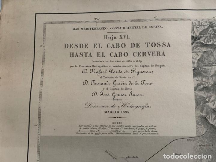 Arte: CARTA NAUTICA CABO DE TOSSA A CABO CERBERA S. XIX - Foto 3 - 183797748