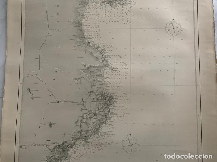 Arte: CARTA NAUTICA CABO DE TOSSA A CABO CERBERA S. XIX - Foto 4 - 183797748