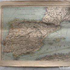 Arte: CARTA NAUTICA ESPAÑA SPANIEN PETERMANNS MITTELMEER KARTE 1 S. XIX. Lote 183809861