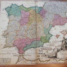 Arte: MAPA PENÍNSULA IBÉRICA.ESPAÑA Y PORTUGAL.REGNORUM HISPANIAE.[1710]GUERRA DE SUCESIÓN ESPAÑOLA.HOMANN. Lote 141289346