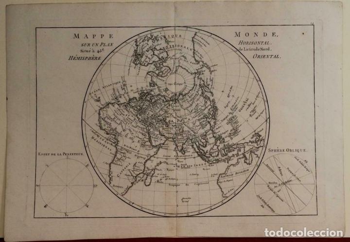 Arte: Mapa del hemisferio oriental del mundo, 1780. R. Bonne - Foto 2 - 184468957