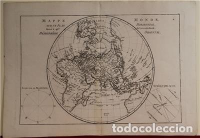 Arte: Mapa del hemisferio oriental del mundo, 1780. R. Bonne - Foto 3 - 184468957