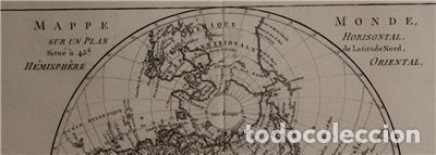 Arte: Mapa del hemisferio oriental del mundo, 1780. R. Bonne - Foto 4 - 184468957