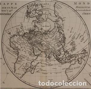 Arte: Mapa del hemisferio oriental del mundo, 1780. R. Bonne - Foto 5 - 184468957