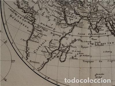 Arte: Mapa del hemisferio oriental del mundo, 1780. R. Bonne - Foto 9 - 184468957