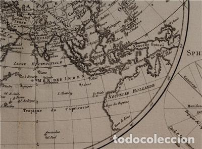 Arte: Mapa del hemisferio oriental del mundo, 1780. R. Bonne - Foto 10 - 184468957