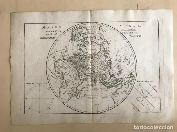 Arte: Mapa del hemisferio oriental del mundo, 1780. R. Bonne - Foto 14 - 184468957
