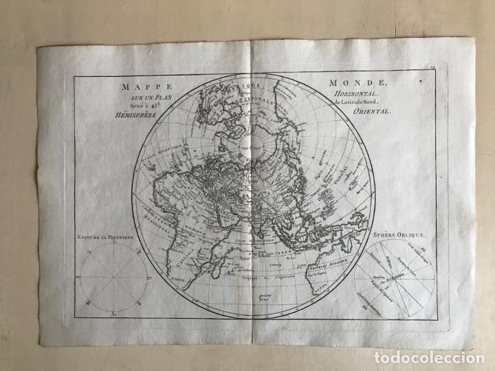 Arte: Mapa del hemisferio oriental del mundo, 1780. R. Bonne - Foto 23 - 184468957
