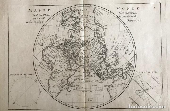 MAPA DEL HEMISFERIO ORIENTAL DEL MUNDO, 1780. R. BONNE (Arte - Cartografía Antigua (hasta S. XIX))