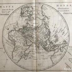 Arte: MAPA DEL HEMISFERIO ORIENTAL DEL MUNDO, 1780. R. BONNE. Lote 184468957