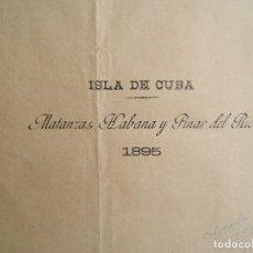 Arte: ISLA DE CUBA-MATANZAS, LA HABANA-PINAR DEL RIO-ISLA DE PINOS-SANTIAGO, CAYOS...TODA LA ISLA-1895.. Lote 185196535