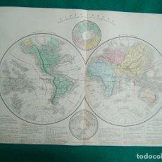 Arte: MAPA DEL MUNDO-POSESIONES COLONIALES-ARTICO-HEMISFERIO ORIENTAL-OCCIDENTAL-ANTARTICO-PRECIOSO-1888. . Lote 185682278