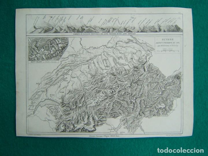 SUISSE ASPECT PHYSIQUE DU SOL-MAPA SUIZA ASPECTO FISICO DEL TERRENO-MAPA TODO ALPES-MONT BLANC-1888. (Arte - Cartografía Antigua (hasta S. XIX))