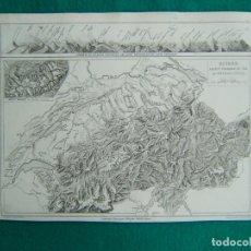Arte: SUISSE ASPECT PHYSIQUE DU SOL-MAPA SUIZA ASPECTO FISICO DEL TERRENO-MAPA TODO ALPES-MONT BLANC-1888.. Lote 185688120