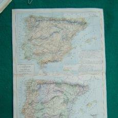 Arte: MAPA FISICO Y POLITICO DE ESPAÑA PORTUGAL-GIBRALTAR-ISLAS BALEARES-CENTROS INDUSTRIALES-1888. . Lote 185688871