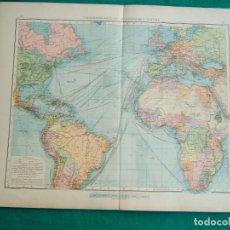 Arte: MAPAS DE LAS LINEAS TRANSPORTE COLONIAL Y MUNDIAL-TRAFICO RUTAS AFRICA EUROPA AMERICA-1899. . Lote 185705711