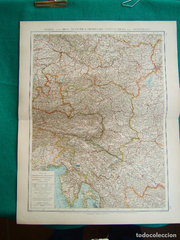 MAPA DE ALEMANIA-AUSTRIA.NIEDER-OSTERREICH-KRAIN-KUSTENLAND +UN MAPA COMPLETO DE SUIZA-1899. (Arte - Cartografía Antigua (hasta S. XIX))