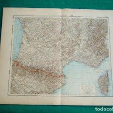 Arte: MAPA DEL NORTE DE FRANCIA AMPLIANDO BRETAÑA Y PLANO DE PARIS-MAPA SUR-CORCEGA NORTE DE ESPAÑA-1899.. Lote 185887280