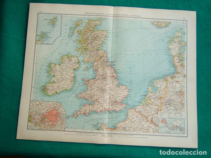 MAPA INGLATERRA-ESCOCIA-REINO UNIDO-IRLANDA-PLANO LONDRES-DINAMARCA-MAPA FRANCIA-NIZA-CATALUÑA-1899 (Arte - Cartografía Antigua (hasta S. XIX))