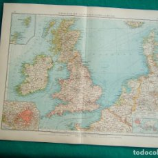 Arte: MAPA INGLATERRA-ESCOCIA-REINO UNIDO-IRLANDA-PLANO LONDRES-DINAMARCA-MAPA FRANCIA-NIZA-CATALUÑA-1899. Lote 185887547