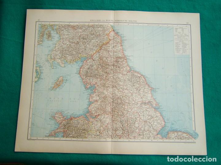 MAPA SUR REINO UNIDO-INGLATERRA-GALES-MAPA NORTE INGLATERRA-REINO UNIDO-ESCOCIA-ISLA DE MAN-1899. (Arte - Cartografía Antigua (hasta S. XIX))