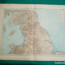 Arte: MAPA SUR REINO UNIDO-INGLATERRA-GALES-MAPA NORTE INGLATERRA-REINO UNIDO-ESCOCIA-ISLA DE MAN-1899.. Lote 185887736