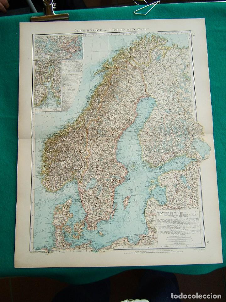 MAPA DE SUECIA-NORUEGA-ALEMANIA-FINLANDIA-KRISTIANIA-ESTOCOLMO-STOCKHOLM-SCHWEDEN-NORWEGEN-1899. (Arte - Cartografía Antigua (hasta S. XIX))