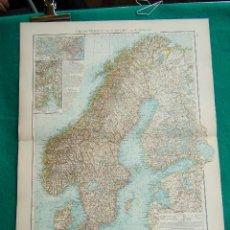 Arte: MAPA DE SUECIA-NORUEGA-ALEMANIA-FINLANDIA-KRISTIANIA-ESTOCOLMO-STOCKHOLM-SCHWEDEN-NORWEGEN-1899.. Lote 185889197