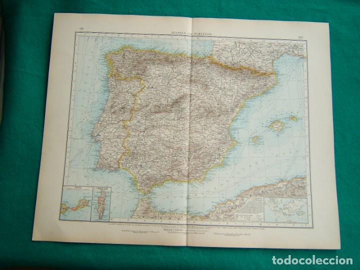 MAPA DE ESPAÑA Y PORTUGAL-NORTE DE AFRICA-GIBRALTAR-CEUTA-MELILLA-ISLAS BALEARES-SPANIEN-1899. (Arte - Cartografía Antigua (hasta S. XIX))