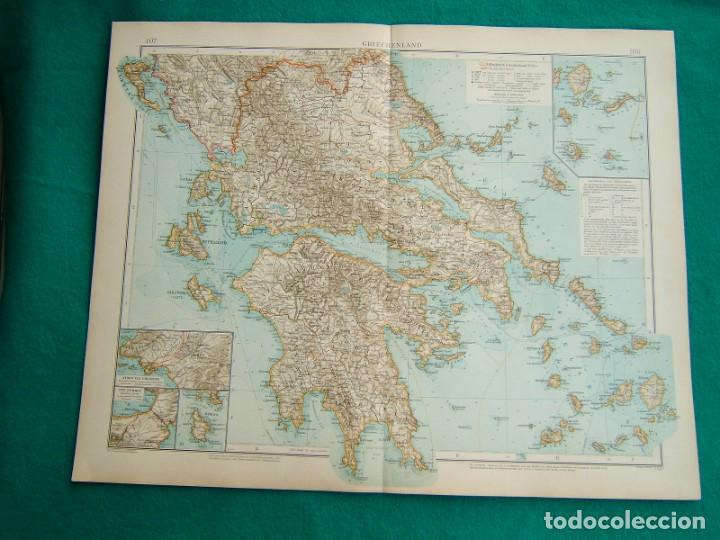 MAPA DE GRECIA CONTINENTAL E ISLAS GRIEGAS-ATENAS-MYKONOS-PAROS-SYRAQ-PATRAS-GRIECHENLAND-1899. (Arte - Cartografía Antigua (hasta S. XIX))
