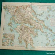 Arte: MAPA DE GRECIA CONTINENTAL E ISLAS GRIEGAS-ATENAS-MYKONOS-PAROS-SYRAQ-PATRAS-GRIECHENLAND-1899.. Lote 185890406