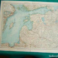 Arte: MAPA DEL NORTE DE RUSIA-UNION SOVIETICA-GOLFO FINLANDIA-RIGA-MAR LADOGA-VILNA-SAN PETERSBURGO-1899.. Lote 185894693