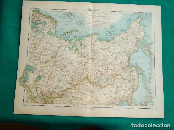 MAPA DE NORTE DE ASIA-JAPON-SIBERIA-MONGOLIA-FINLANDIA-MAR CASPIO-ARAL-CIRCULO POLAR ARTICO-1899. (Arte - Cartografía Antigua (hasta S. XIX))